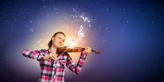 Ragazza con il violino Fotografia Stock Libera da Diritti
