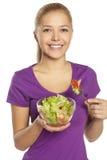 Ragazza con insalata Fotografia Stock