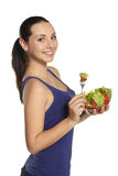 Ragazza con insalata fresca Fotografia Stock