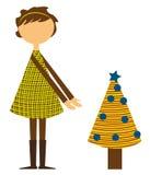 Ragazza con l'albero di Natale royalty illustrazione gratis