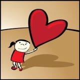 Ragazza con l'cuore-aerostato royalty illustrazione gratis