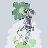 Ragazza con l'illustrazione del fiore - retro stile Immagini Stock