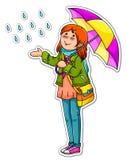 Ragazza con l'ombrello Fotografia Stock