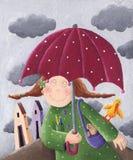 Ragazza con l'ombrello Fotografia Stock Libera da Diritti