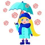 Ragazza con l'ombrello blu Fotografia Stock Libera da Diritti