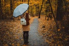 Ragazza con l'ombrello sul sentiero nel bosco variopinto autunnale Immagini Stock