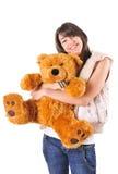 Ragazza con l'orso dell'orsacchiotto Fotografie Stock