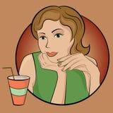 Ragazza con la bevanda Fotografia Stock Libera da Diritti