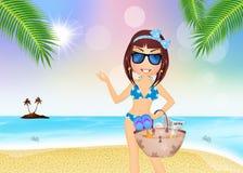 ragazza con la borsa della spiaggia Immagini Stock Libere da Diritti