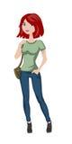 Ragazza con la borsa, personaggio dei cartoni animati divertente Immagini Stock