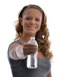 Ragazza con la bottiglia di acqua Fotografia Stock Libera da Diritti