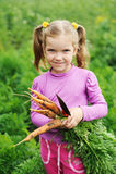 Ragazza con la carota Fotografia Stock