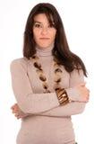 Ragazza con la collana Fotografie Stock