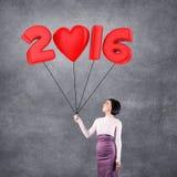 Ragazza con la data 2016 Fotografia Stock Libera da Diritti