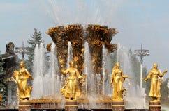 Ragazza con la fontana di amicizia Fotografia Stock