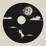 Ragazza con la mosca del pallone da moon Immagini Stock Libere da Diritti