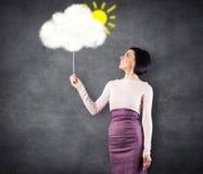 Ragazza con la nuvola Fotografie Stock Libere da Diritti