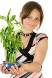 Ragazza con la pianta domestica bam Fotografie Stock Libere da Diritti
