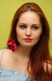 Ragazza con la rosa Fotografia Stock Libera da Diritti