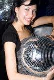 Ragazza con la sfera della discoteca Fotografia Stock Libera da Diritti