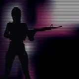 Ragazza con la siluetta della pistola Immagini Stock Libere da Diritti