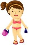 Ragazza con la spiaggia del giocattolo royalty illustrazione gratis