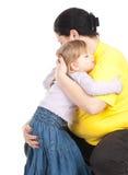 Ragazza con la sua madre grassa Fotografie Stock