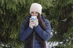 Ragazza con la termo tazza, pomeriggio gelido di inverno immagini stock libere da diritti