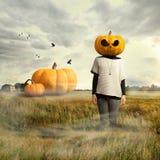 Ragazza con la testa della zucca, Halloween fotografie stock
