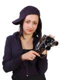 Ragazza con la vecchia macchina fotografica della pellicola (film) fotografie stock