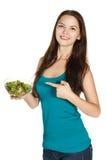 Ragazza con lattuga, alimento sano Fotografie Stock Libere da Diritti