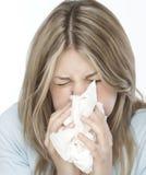 Ragazza con le allergie Fotografia Stock