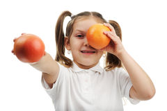 Ragazza con le arance Immagine Stock Libera da Diritti