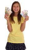 Ragazza con le banconote dei soldi Fotografie Stock