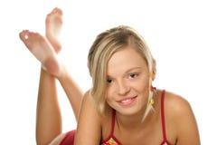 Ragazza con le clip al gusto di frutta in capelli Fotografia Stock