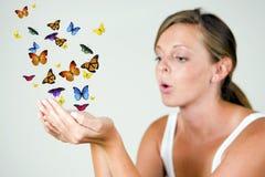 Ragazza con le farfalle Immagine Stock Libera da Diritti