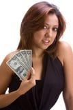 Ragazza con le fatture del dollaro Immagine Stock