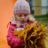 Ragazza con le foglie di autunno fotografia stock libera da diritti