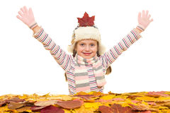 Ragazza con le foglie di autunno su bianco Fotografia Stock