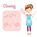 Ragazza con le icone delle attrezzature per la pulizia e del profilo dalla Camera messe illustrazione di stock