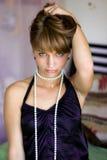 Ragazza con le perle Fotografia Stock Libera da Diritti