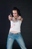 Ragazza con le pistole Fotografia Stock Libera da Diritti