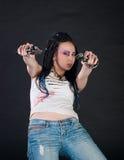 Ragazza con le pistole Fotografia Stock