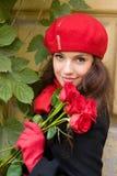 Ragazza con le rose Immagini Stock Libere da Diritti