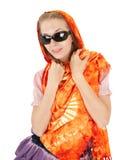 Ragazza con lo scialle arancione fotografia stock libera da diritti