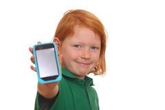 Ragazza con lo smartphone Fotografie Stock Libere da Diritti
