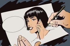 Ragazza con lo smartphone Illustrazione di riserva Immagini Stock