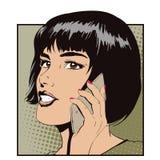 Ragazza con lo smartphone Illustrazione di riserva Fotografia Stock