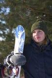Ragazza con lo snowboard Fotografia Stock Libera da Diritti