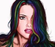 Ragazza con multi capelli colorati Immagine Stock Libera da Diritti
